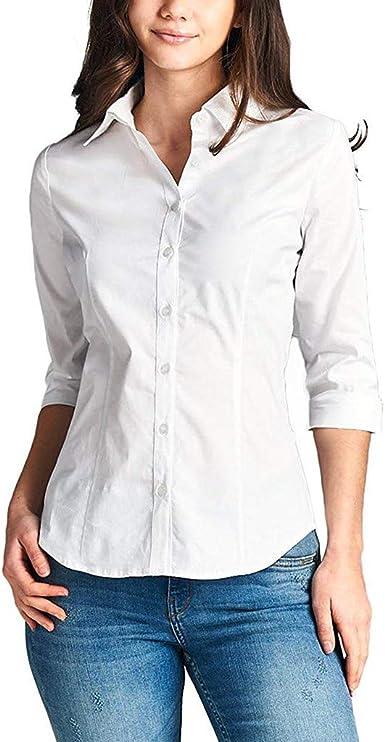 Mitlfuny Camiseta de Lactancia Maternidad a Rayas Chaleco Camisa Mujer Blusa Mujer 3/4 Manga elástica con Cuello Abotonado Cuello Oficina Formal Camisa Informal Blusa: Amazon.es: Ropa y accesorios