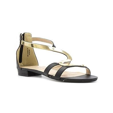 Lunar Womens Black Gold Trim Flat Sandal B06X17MX8P