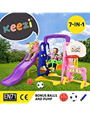 Keezi Kids Play Set Playground Outdoor Indoor Slide Swing Basketball Hoop Soccer
