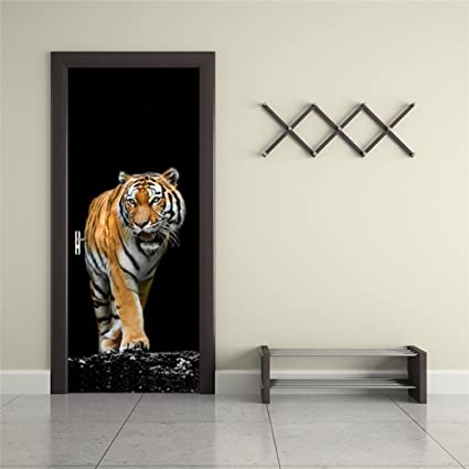 3D Tiger Door Stickers Wall Sticker Decal Art Decor Vinyl Removable Mural Animal Window Door Makaor & Amazon.com: 3D Tiger Door Stickers Wall Sticker Decal Art Decor ...