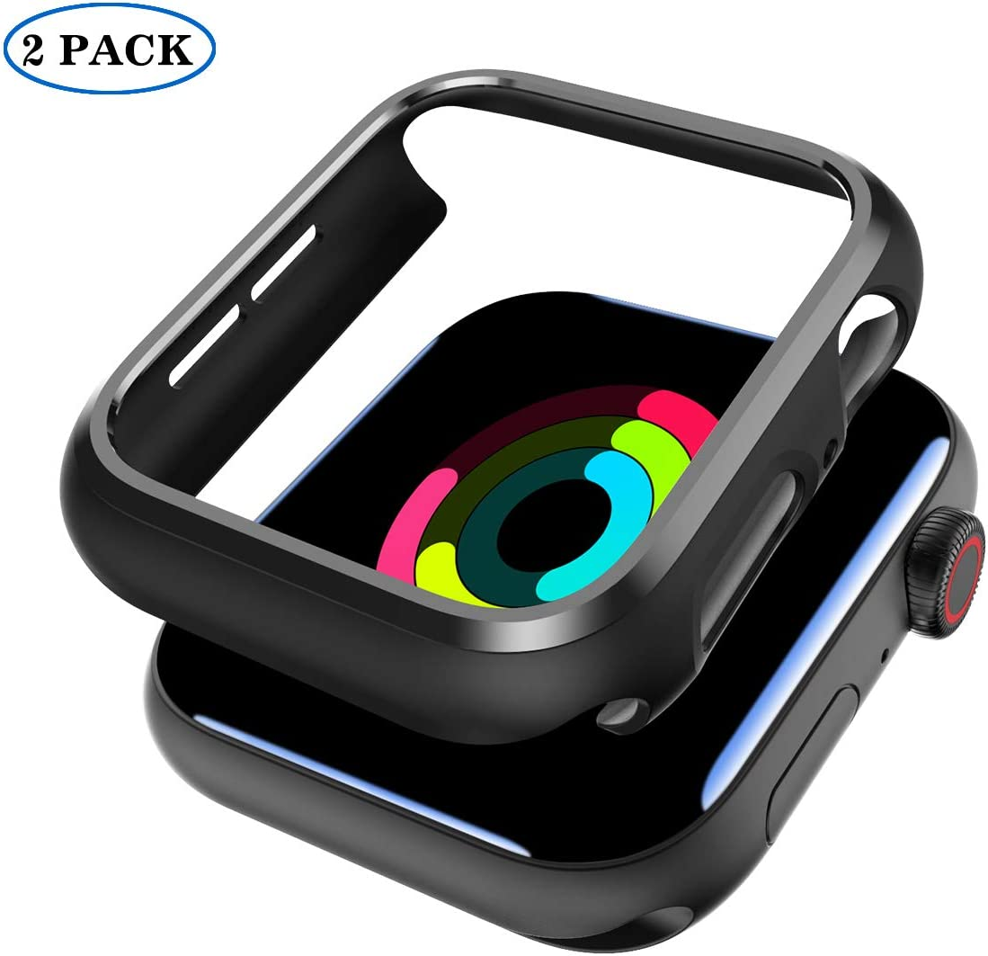 2 Pack Case for Apple Watch 44mm Series 4/ Series 5/ Series 6/ SeriesSE -Shockproof Anti-Scratch Thin Bumper Hard Cover Case for Apple Watch iWatch Series 6/ SE 2020- Black