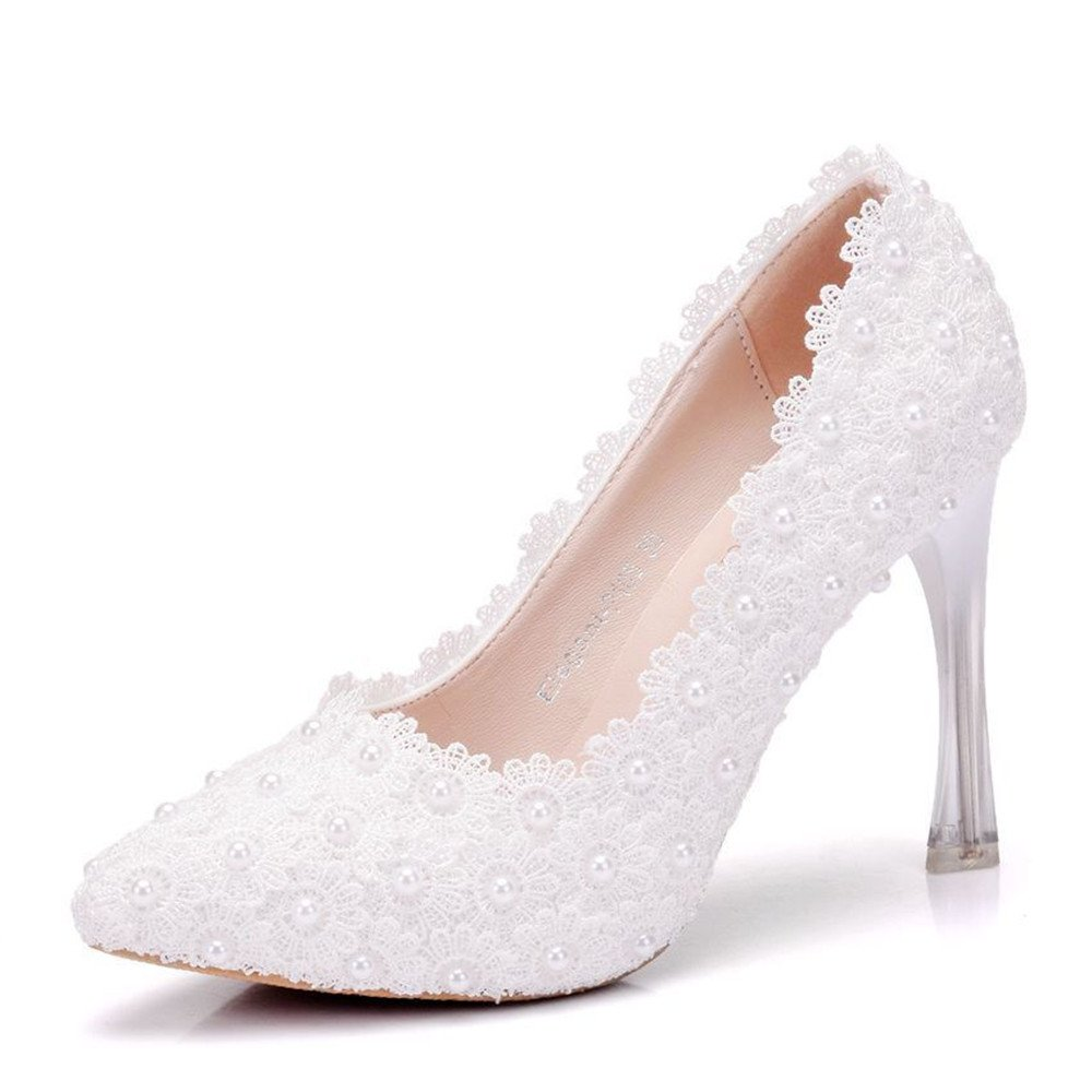 d389d2d05 Amazon.com | Gusha Pointed Toe Lace Pearl Heels Wedding Shoes Fashion Sexy  Ball Party Stilettos | Pumps