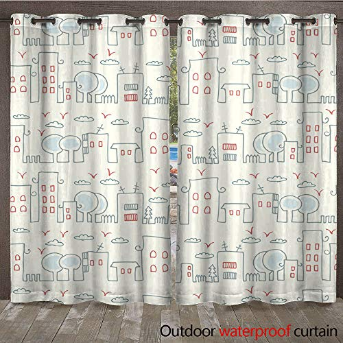 WinfreyDecor 0utdoor Curtains for Patio Waterproof Seamless Pattern with a City Skyline W108 x L84 -