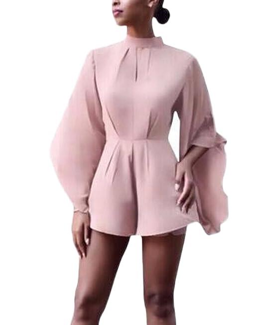 Auxo Mono Ropa Flores Chic Blusas de Mujer Elegantes Túnica con Mangas Pantalones Cortos Rosa Ioto