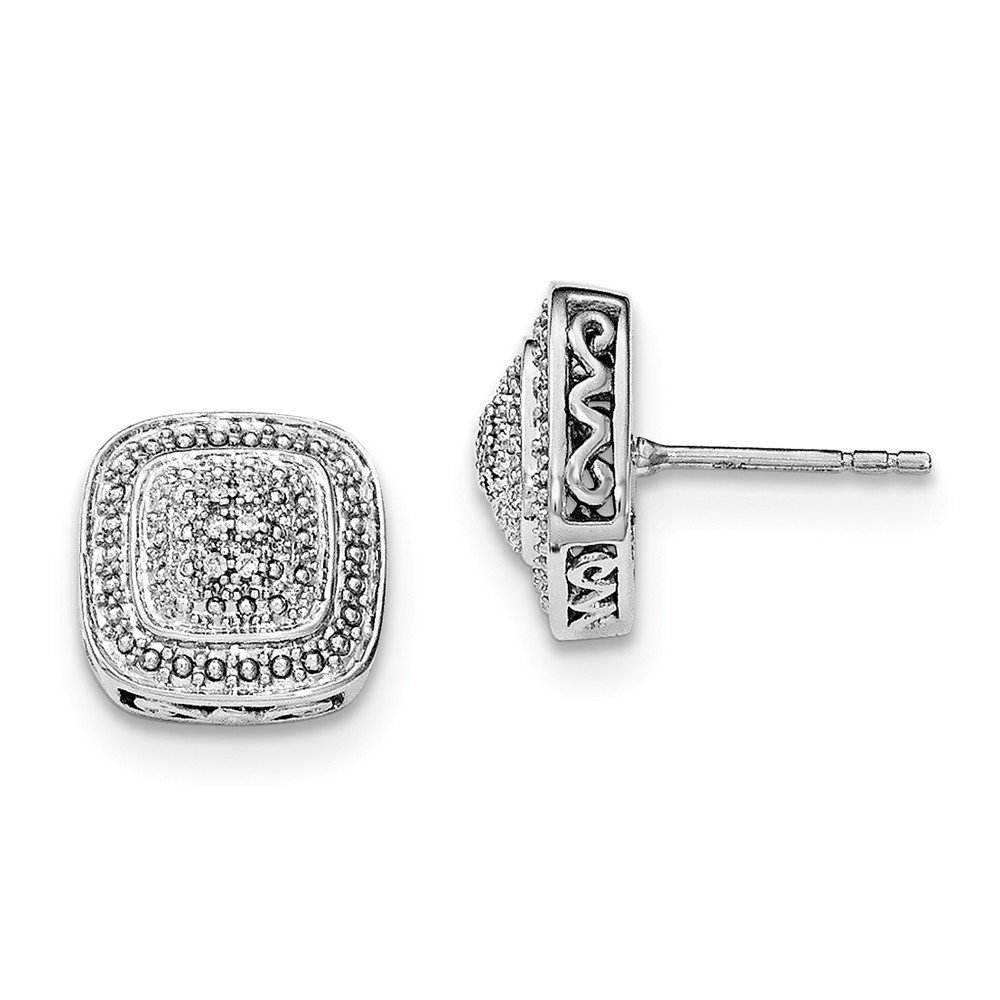 Sterling Silver Rhodium Polished Square Shape Diamond Post Earrings