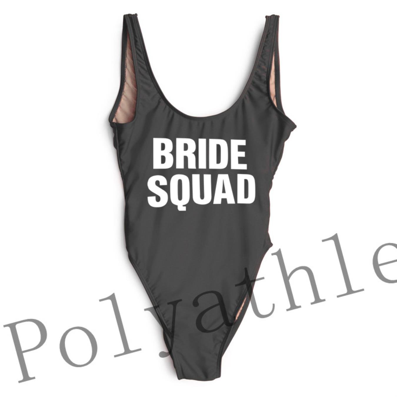 NIJKDY One Piece Swimsuit Bride Squad High Cut Bathing Suit at Amazon Women s  Clothing store  0edf03c4bd82