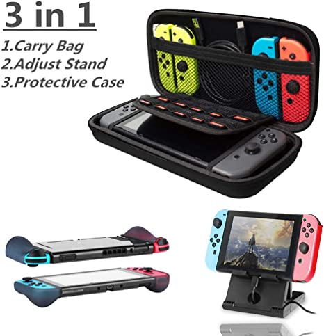 3 in 1 Nintendo Carry Case Set for Nintendo Switch,Kit with Hard Shell Travel Carrying Box,Switch Stand,Protective Case - Black: Amazon.es: Videojuegos