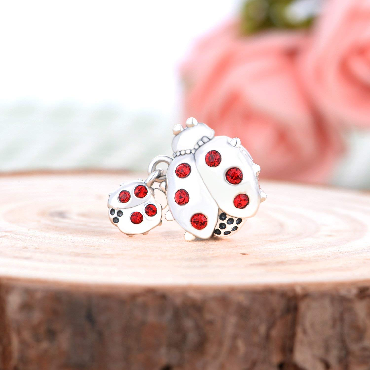 Red Crystal Mother and Baby Ladybug I love You Mom 925 silver crystal Bead Fit European Brand Charms