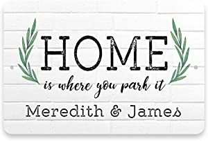 Pattern Pop Personalized Home is Where You Park It Metal Sign 8 X 12