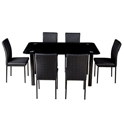 Woodness Bristol Glass 6 Seater Dining Table Set (Black)