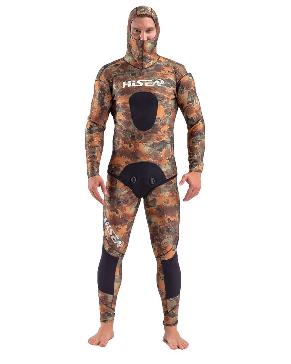 メンズ5ミリメートルパーカーウェットスーツカモネオプレンフルボディダイビングスーツスピアフィッシングスーツ2ピースフリーダイビングフルスーツスキューバダイビングシュノーケリング水泳,M  Medium