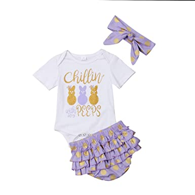 988bca0f566 3Pcs Set Newborn Infant Baby Girl Easter Outfit Bunny Romper Bodysuit+Ruffle  Polka Dot