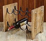 Rusticity Wood and Metal Wine Rack/Bottle Holder - 8 Bottles Slots | Handmade | (16.5 x 2.5 x 10.1 in)