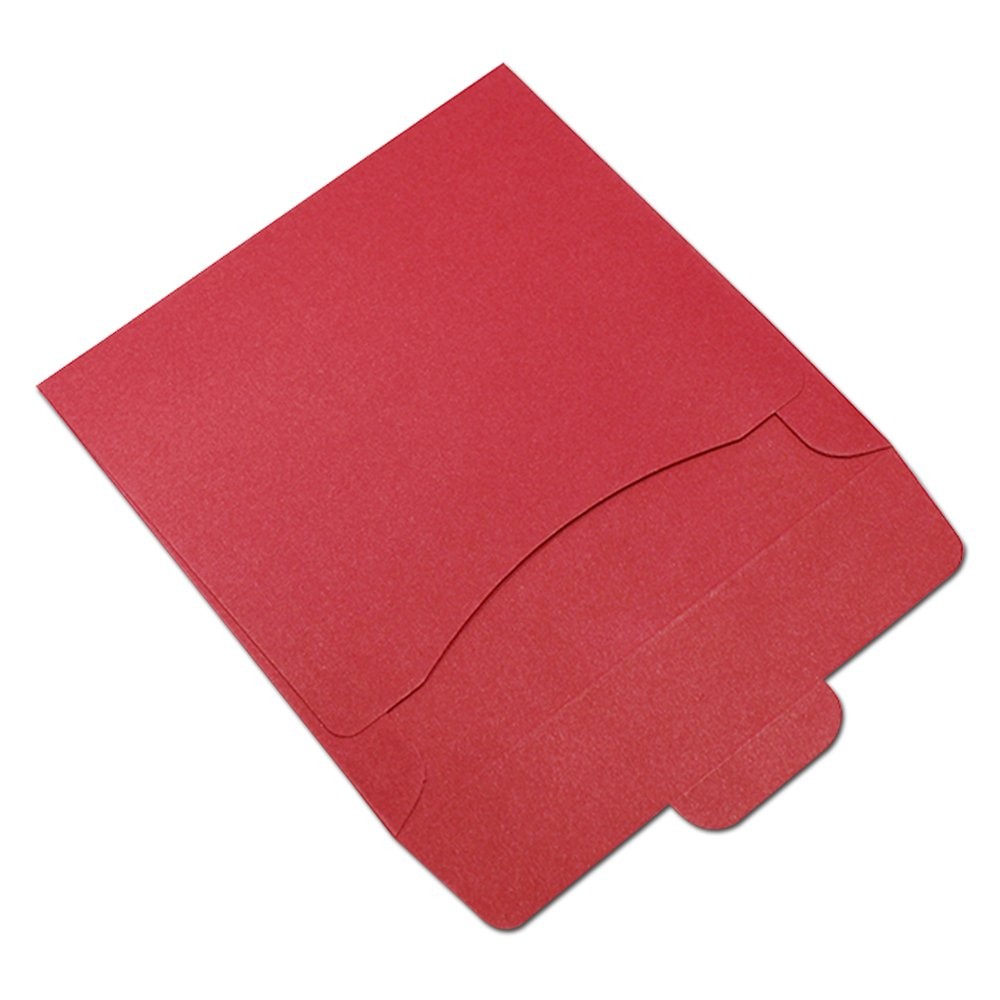 50Pcs 12.5x12.5cm (4.9x4.9 inch) Many Colors Kraft Paper CD Pack Bag Recyclable Reusable Single Page DVD Sleeve Cover (Red)