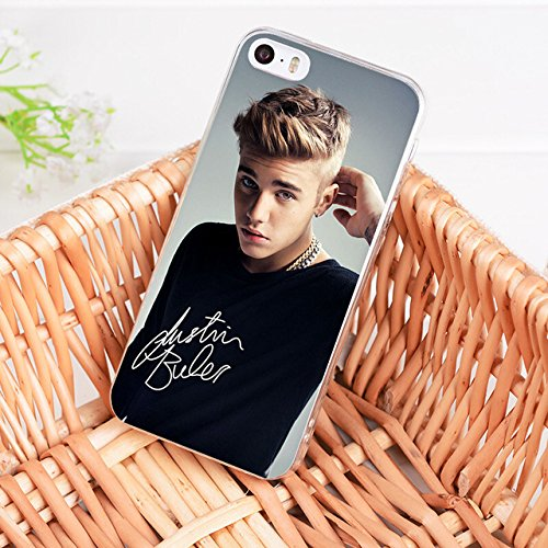Brown Beige Black Justin Bieber iPhone 5 Case Singer Themed 5S Cover 5 SE Musician Recording Signature Artist Music Popstar Beliber Songwriter Picture Baby Fan Girl, Silicone