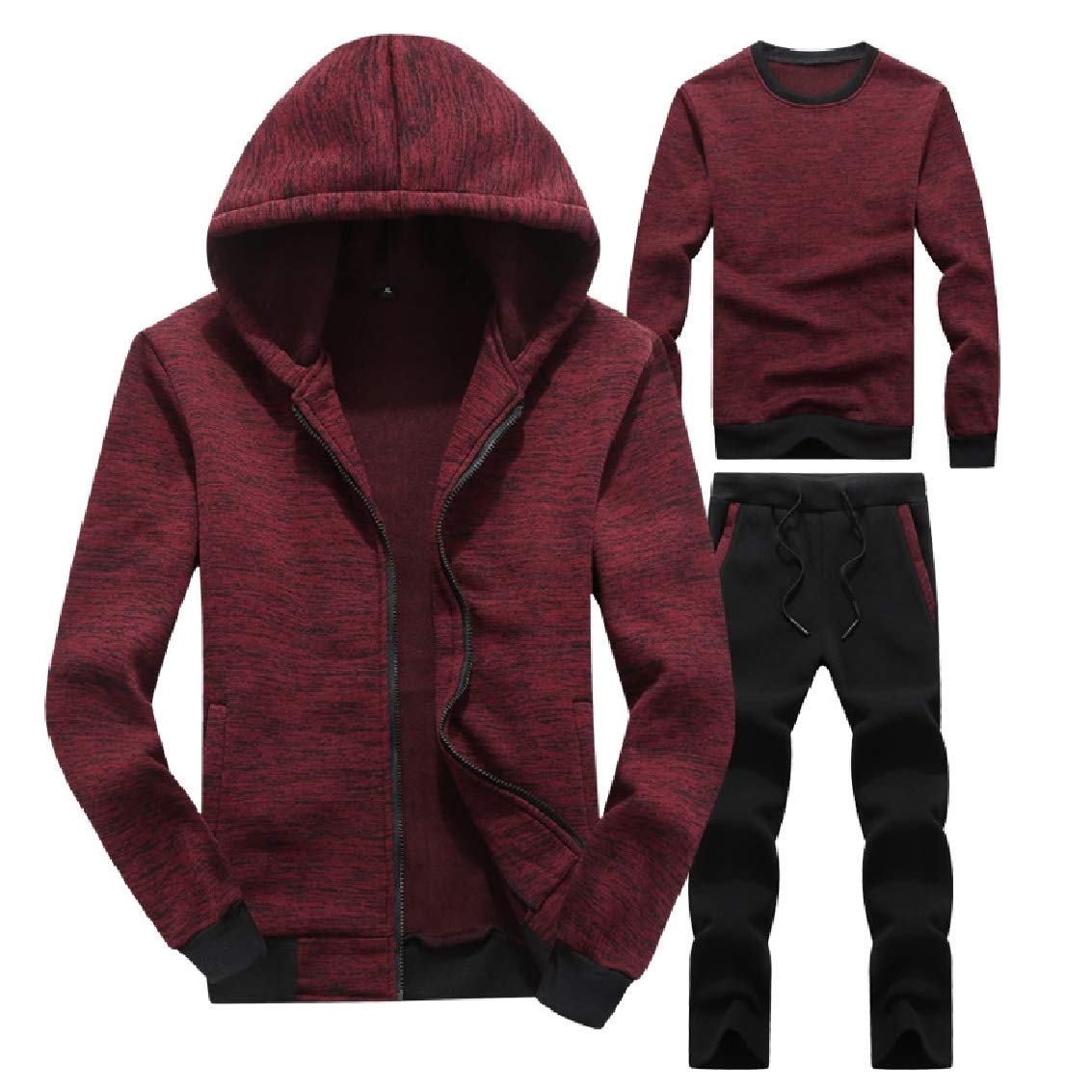 Red wine FieerMen Athletic Relaxed-Fit Hood Solid 2-Pieces Leisure Track Set