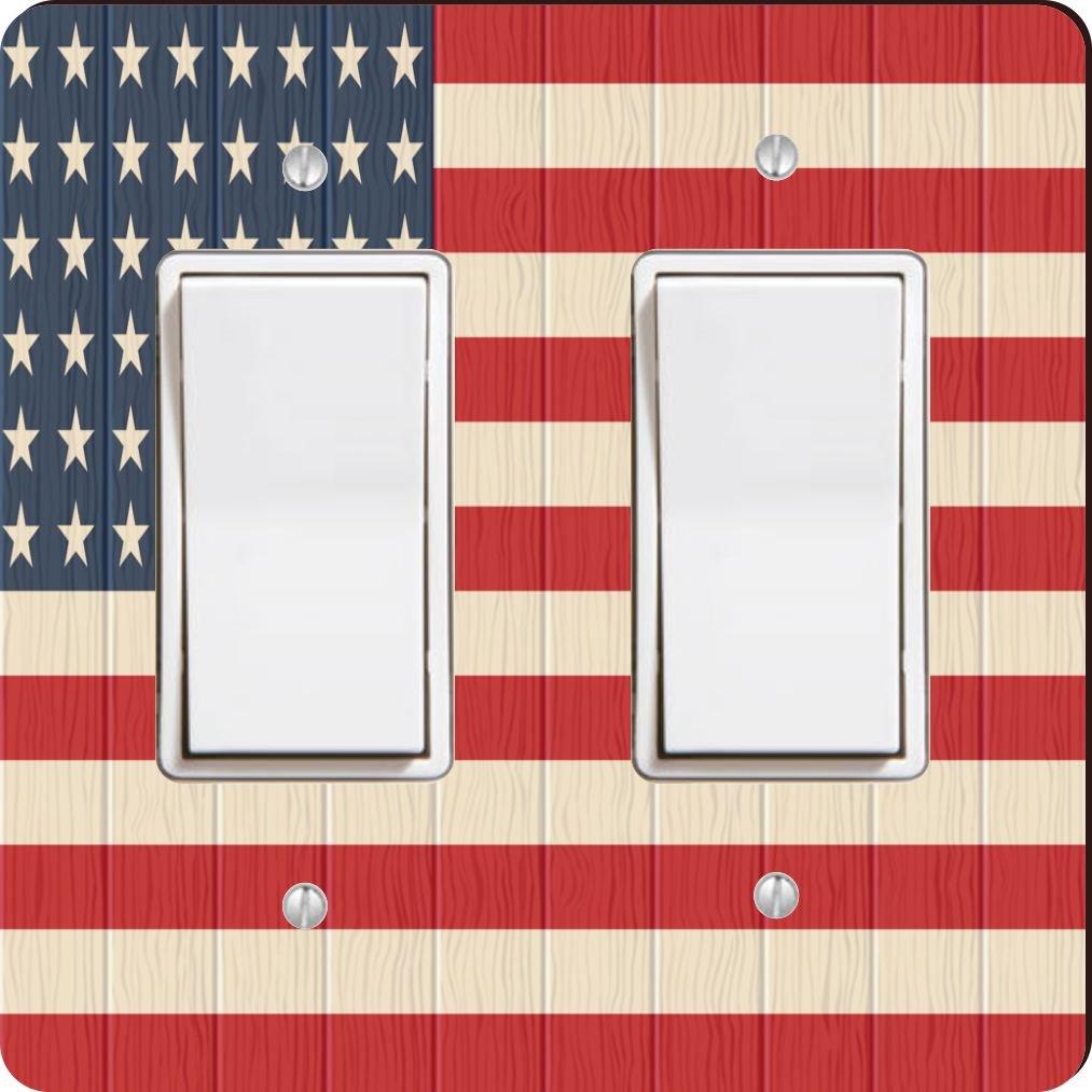 Rikki Knight 8615 Double Rocker America Flag On Distressed Wood Design Light Switch Plate