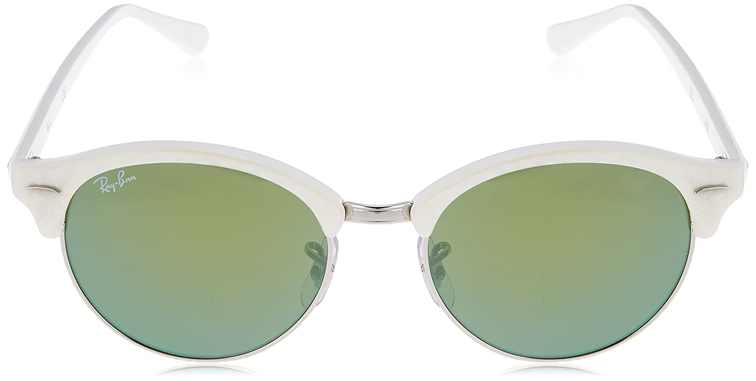 d4fc22a090e Amazon.com  Ray-Ban CLUBROUND Round Sunglasses White Silver 51mm  Ray-Ban   Clothing