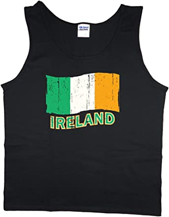Mens tank top Ireland Irish flag decal sleeveless muscle tee shirt
