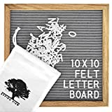 Gray Felt Letter Board: 10x10 inches, Message Board Sign, Changeable Letter Boards, Oak Wood Frame, 344 Letters, Numbers, Emojis & Punctuation - Free Cotton Bag, Scissors, Wooden Stand & Wall Mount