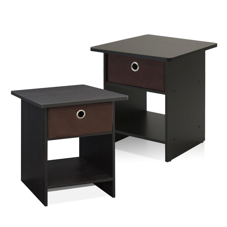 Furinno 2-10004EX Home Living Storage Shelf with Bin Drawer, 2-Pack, Espresso/Brown