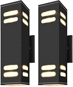 Outdoor Wall Light Fixtures ETL Listed JACKYLED IP65 Waterproof 60W Modern Wall Sconce Exterior Porch Light Frosted Aluminum Finish Wall Mount Lamp with E26/E27 LED Bulbs for Patio Garden 2-Pack Black