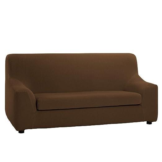 Funda de Sofá Elástica con el Cojín Separado Modelo Libia, Color Marrón, Medida 2 Plazas · 120-190cm