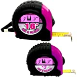 2PC Ladies Pink Tape Measure Set - Includes ¾x16ft Tape Measure & ¾ x 12ft Tape