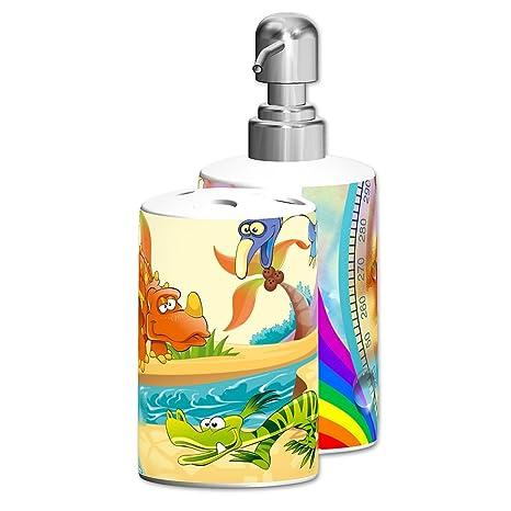 """Dispensador de jabón personalizado/Porta cepillo de dientes, , Diseño """"KIDS WORLD"""