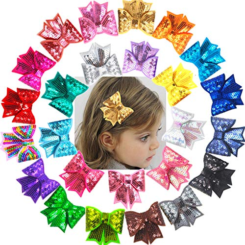 25Pack 3 Inch Baby Girls Hair Bow Clips Bling Sparkly Glitter Sequin Hair Bows Alligator Hair Clips Hair Accessories Cheer Hair Bows for Girls Toddlers Kids
