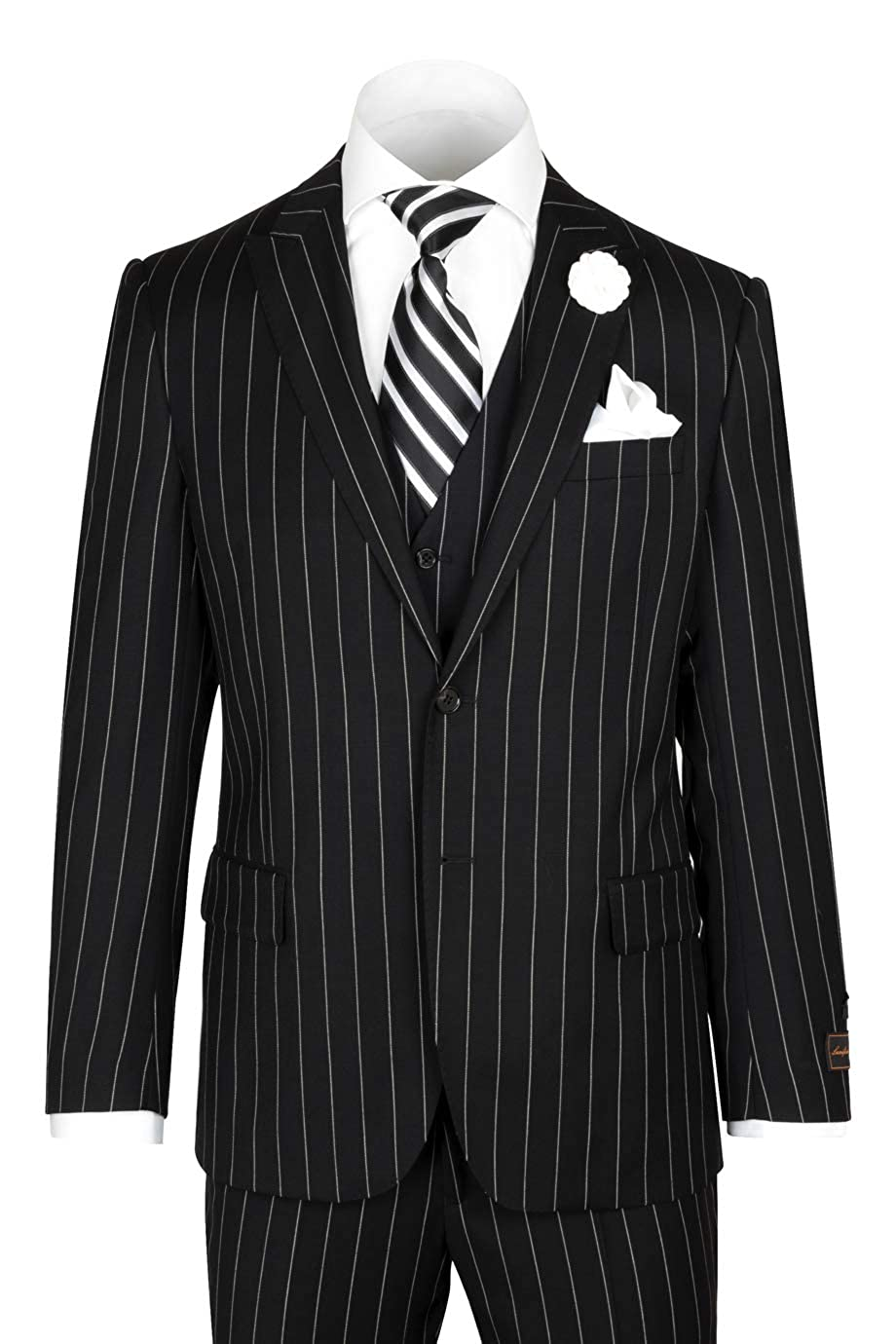 1940s Zoot Suit History & Buy Modern Zoot Suits Tiglio Luxe Tufo Modern Fit Black Pin-Stripe Pure Wool Suit & Vest TIG1052 $399.00 AT vintagedancer.com