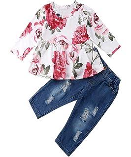 Lange Hosen Kleidung Sets OVERDOSE Baby Kinder M/ädchen Warm Blume Baumwolle Langarm Strickjacke