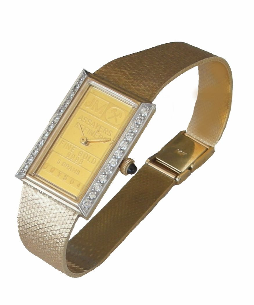 Johnson Matthey ''One of a Kind'' 14K Gold 5 Gram Ingot Ladies Watch With .50 ct Diamonds by RICH (Image #3)