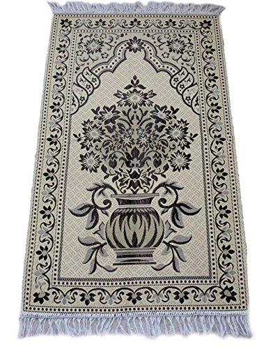 MOMIN BAZAAR Fabric Islamic Muslim Janamaz Musallah Prayer Mat Rug, 70 x 110 cm (Black)