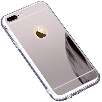 Funda iPhone 7 Plus/ 8 Plus,Carcasa Protectora [Trasera] de [Tpu] para Móvil En [Con Efecto Espejo] Ultra-Delgado Caras Cubierta Caso Espejo Funda ...