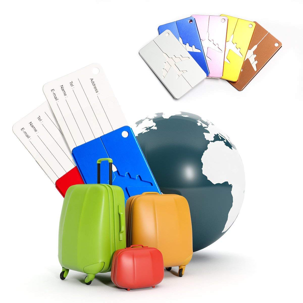 Febbya Luggage Tags Travel Luggage Baggage 7 Pack Bright Colors Tour Suitcase Baggage Handbag Labels Business Card Holder For Travel Bussiness Trip With Aluminum Strip