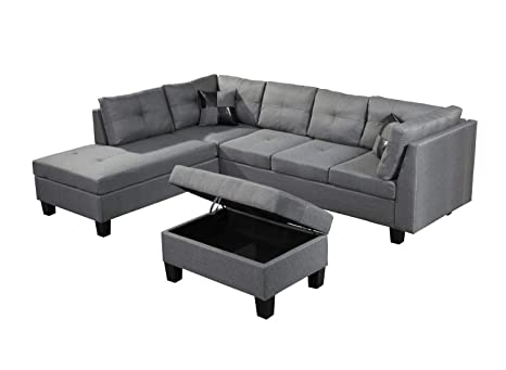 Sensational Amazon Com 3 Pieces Soft Sectional Sofa With Fabric Inzonedesignstudio Interior Chair Design Inzonedesignstudiocom