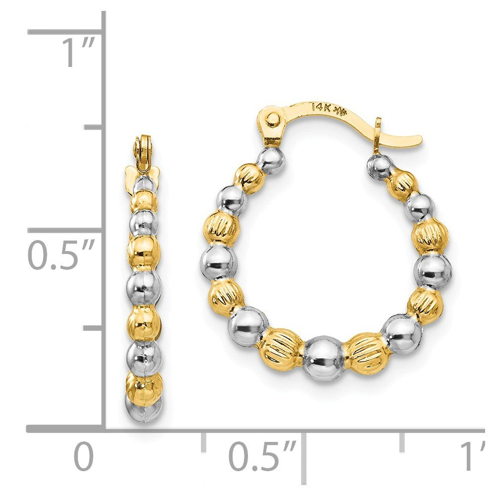 Mia Diamonds 14k Yellow Gold Madi K with Rhodium Beaded Hoop Earrings
