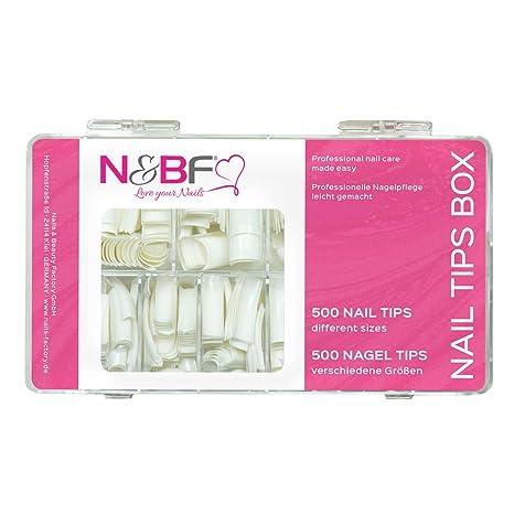 N & BF French uñas Tips Blanco caja 500 unidades para gelnägel & Esmalte de Uñas