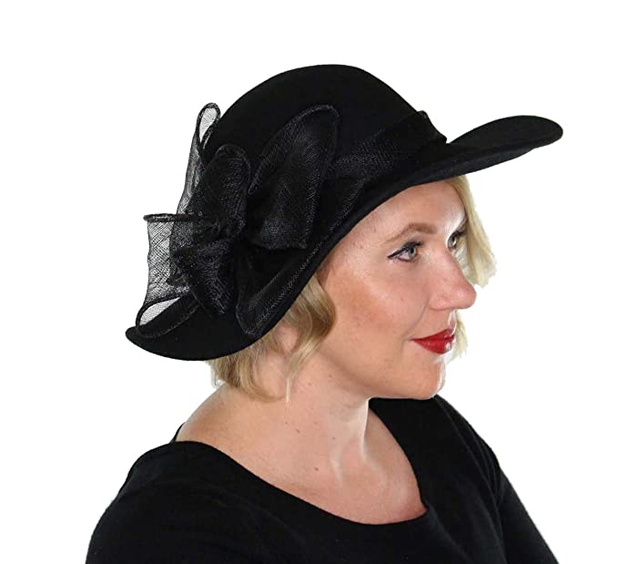 1930s Style Hats | Buy 30s Ladies Hats Evelyn Wool Bucket Hat Wide Brim Vintage Cloche Flapper Tea Party Church with Flower $39.99 AT vintagedancer.com