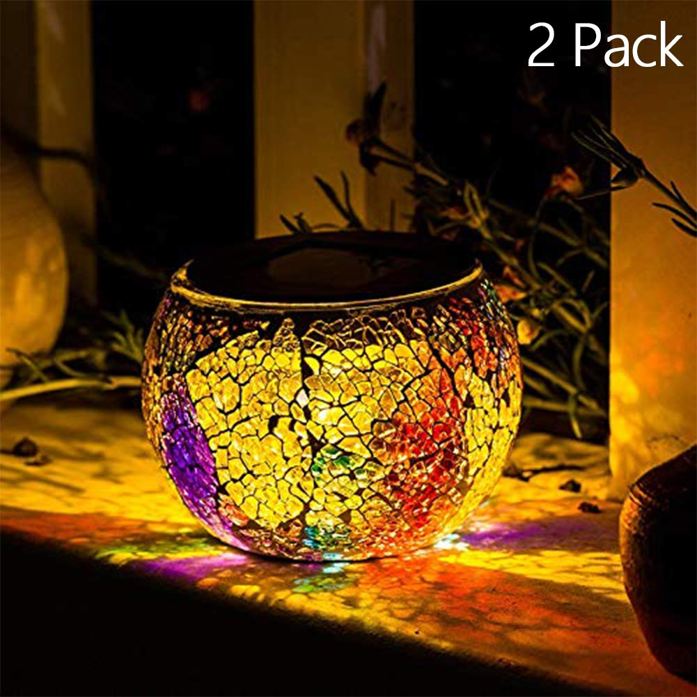 Solar Decoration Table Light- Solar Mosaic Glass Table Lights Waterproof Multi-Color Night Lights Table Lamps Garden Christmas Decorative Lighting (2 Pack)