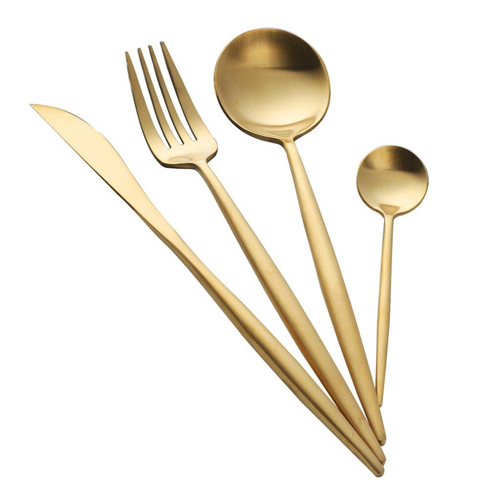 Cubiertos de Oro Acero Inoxidable 4 piezashttps://amzn.to/2ziwcY7