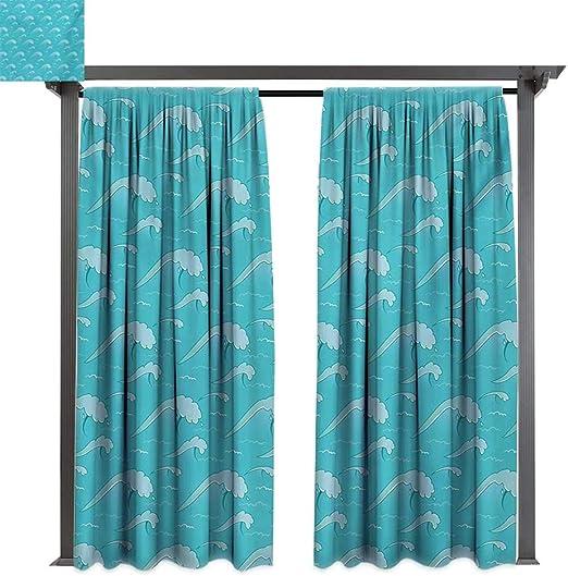Bybyhome - Cortinas de porche, diseño de mosaico triangular, color verde azulado, con formas de polígono con efecto de sombras artísticas, impresión de ilustración adecuada para porche frontal, pergola, cabana, patio cubierto: