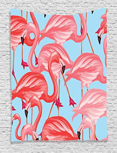 Ambesonne Flamingo Decor Collection, Tropical Birds Pattern with Flamingos Colorful Exotic Animal Nature Artwork , Bedroom Living Room Dorm Wall Hanging Tapestry, Coral Salmon Pink ()