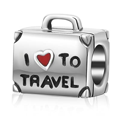 10b9cc67e1f1 I Love to Travel Suitcase Charm Bead 100% Geunine 925 Sterling Silver Red  Heart Bag Chams Fit European Charms Bracelet