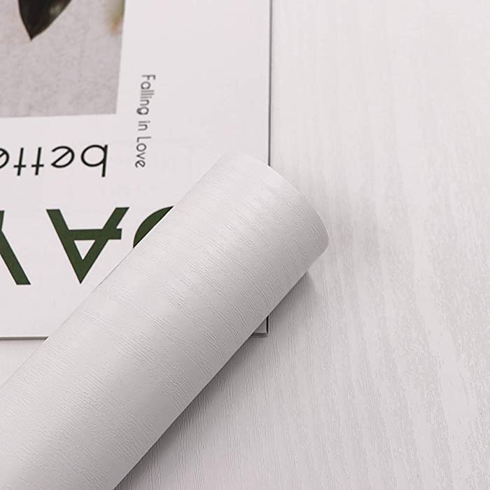 Self-Adhesive 15.7 In X 196 In White Wood Paper Decorative Film for Furniture Real Wood Grain Touch Easy to Clean Thicken Perfectly Covers The Surface Without Passing Through The Primary Color