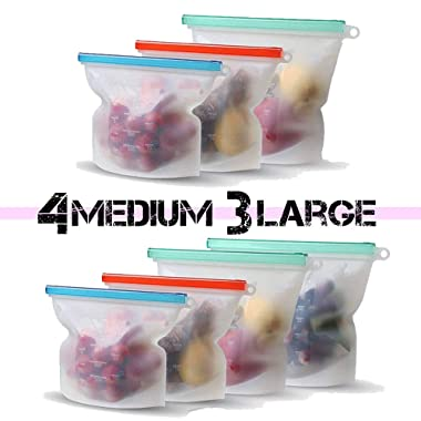 Reusable Silicone Food Storage Eco Bulk Bags Size Ziplock Plastic Containers Cooking Bag Sets for Sous Vide Liquid Snack Lunch Freezer Microwave 7 Silicone Storage Bags for Fruits Vegetables Set