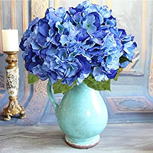Duosuny Artificial Silk Fake 5 Heads Flower Bunch Bouquet Home Hotel Wedding Party Garden Floral Decor Hydrangea 2