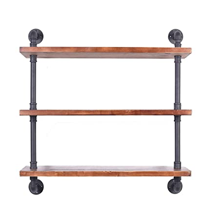 Diwhy Industrial Pipe Shelving Bookshelf Rustic Modern Wood Ladder Storage Shelf 3 Tiers Retro Wall Mount