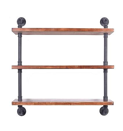 Industrial Pipe Shelving Bookshelf Rustic Modern Wood Ladder Wall Shelf 3 Tiers Wrought IronPipe Design DIY Dia 32mm Weight30lb